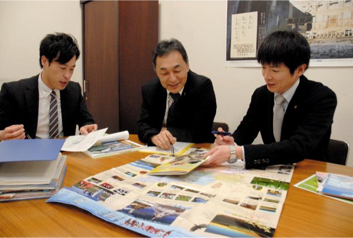 台湾の教育旅行の誘客拡大などを目指し、打ち合わせをする 戦略チームのメンバー